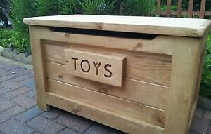 HANDMADE SOLID WOODEN PINE TOY BOX / OTTOMAN