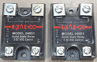 Lot Of 2 Opto 22 Solid State Relay Model 240d3 3-32 Vdc Control