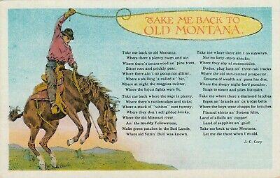 Vintage Postcard  WESTERN  TAKE ME BACK TO OLD MONTANA   UNPOSTED