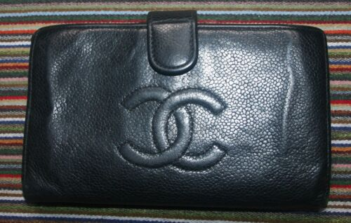 Vintage Chanel Logo Black Caviar Leather Clutch Wallet