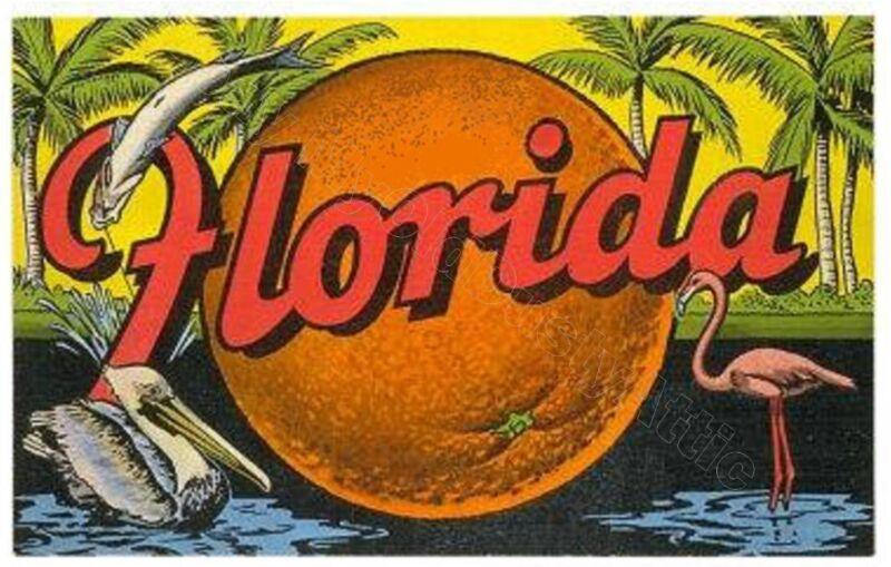 Vintage Style Florida Travel Poster - palms, oranges, flamingo   9 x 12