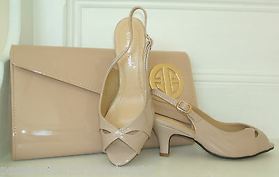 BN SIZE 3 4 5 6 7 8 NUDE BEIGE PATENT LOW MID HEEL COMFY SLINGBACK SHOES SANDALS Patent 3 3/4