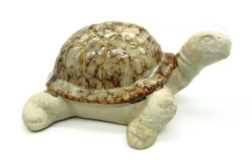 Ceramic Turtle Tortoise Figurine With Glazed Marbled Shell Clay Head Up Stunning