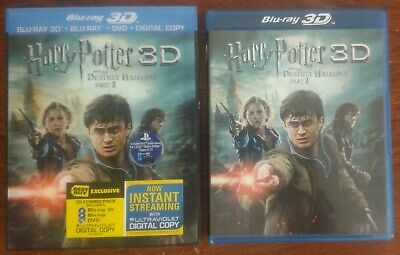 Harry Potter Deathly Hallows Part 2 II Blu-ray + 3D + DVD 4-Disc Set w Slipcover