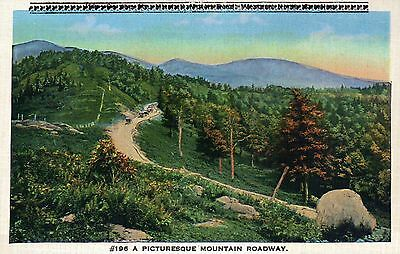 A Picturesque Mountain Roadway, Cars - Beautiful Old Vintage Standard Postcard