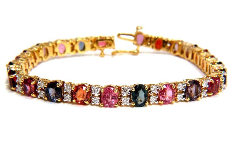 █$9500 18.24ct Natural Vivid Colors Spinel Diamonds Tennis Bracelet 14kt