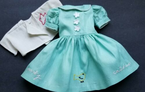 "VINTAGE PALE GREEN DOLL DRESS &JKT~EMBROIDERED~BIRD CATCHES WORM~FITS 18"" DOLL"
