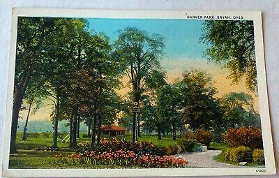Bryan Ohio Garver Park Path Vintage Souvenir Postcard Unposted