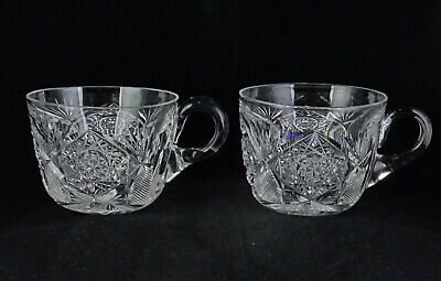 Pair Of Hoare ABP American Brilliant Period Cut Glass Punch Cups