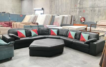 DELIVERY TODAY BLACK GENUINE LEATHER L shape corner sofas lounge