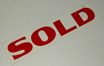 SOLD SIGN VINTAGE ENAMEL METAL HANG-ON HOME FOR SALE PLAQUE REALTY REALTOR