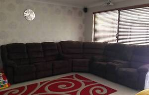 Choc brown velour/ micro suede high back lounge sofa suite Bertram Kwinana Area Preview