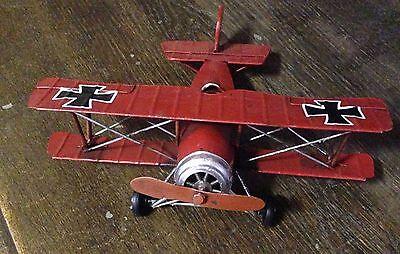 Blechflugzeug Trippledecker 19x16x7cm bewegl Propeller /& Räder #159521