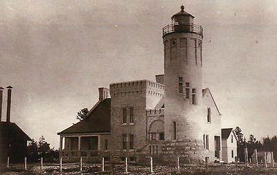 Mackinac Point Lighthouse - Old Mackinac Point Lighthouse Mackinaw City Michigan, Lake Huron & MI - Postcard