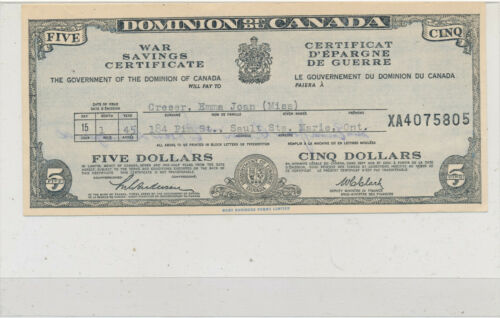 $5 Dominion of Canada War Savings Certificate (1945)