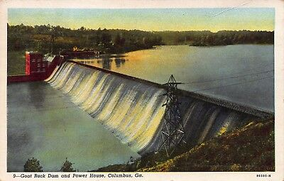 Vtg 1942 Postcard Goat Rock Dam Electric Power House River Columbus Georgia A33