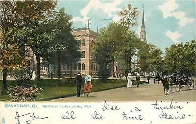 Georgia, GA, Savannah, Oglethorpe Avenue Looking West 1909 Postcard
