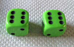 Set-of-2-LIME-GREEN-DICE-DUST-VALVE-CAPS-MINI-CAR-VW-BMX
