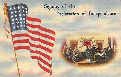 C6671 Signing Declaration of Independence Flag Linen PC Tichnor Flag Series # 14