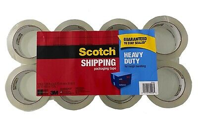 Scotch Shipping Packaging Tape 1.88 Inch X 54.6 Yard Heavy Duty Tape - 8 Pack