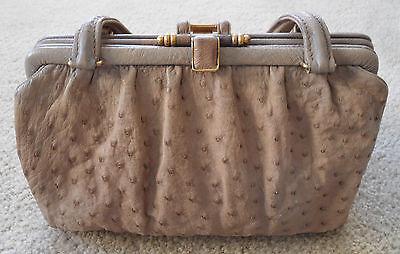 (Vintage Mark Cross Ostrich Leather Handbag with Original Coin Purse)