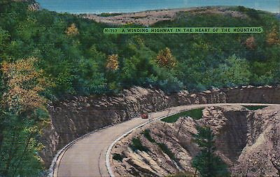 Winding Highway in the Mountains - Beautiful Old Vintage Standard Linen Postcard