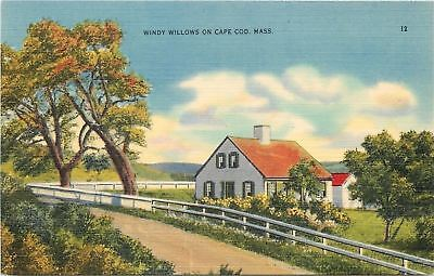 Cape Cod, Massachusetts~Windy Willows~Home in Picket Fence~1940 Postcard Cape Cod Picket Fence