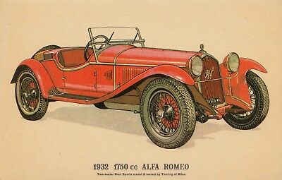 PICTURE POSTCARD - 1932  1750 cc ALFA ROMEO BY COLLECTORS REPRODUCTIONS