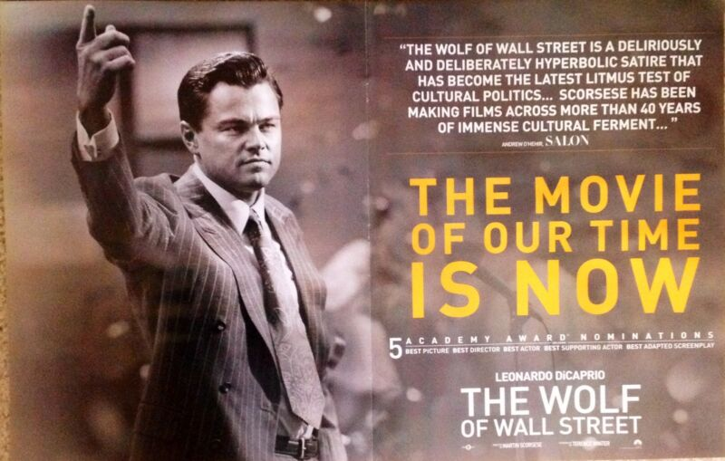 THE WOLF OF WALL STREET double-page Oscar nomination ad Leonardo DiCaprio