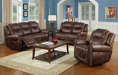 Lifestyle Furniture 3PC Living Room Recliner Sofa Set, Brown Leather(LSFGS3700) Dining Room Set Recliner