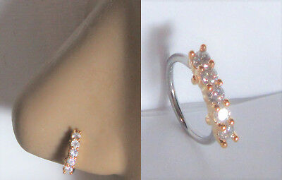 - 14k Yellow Gold Plated 5 Clear CZ Crystals Nose Nostril Hoop Ring 18 gauge 18g