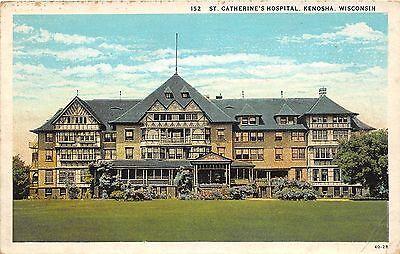 B67/ Kenosha Wisconsin Wi Postcard 1937 St Catherine's Hospital Building