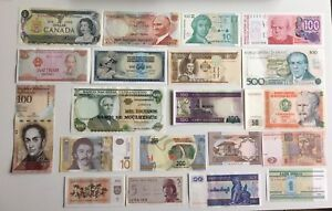 Collection of 20 Genuine World Banknotes - 5 Continents