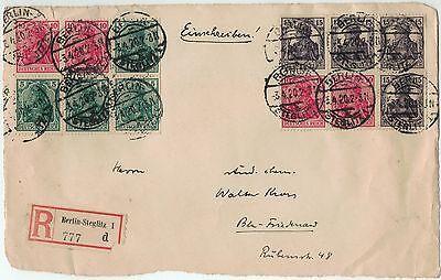 Germania H-Bl. 21 u. 23 aus Markenheftchen 12 auf R-Briefvorderseite