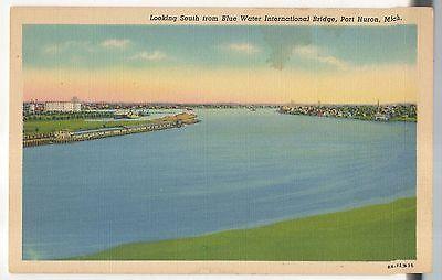 Blue Water International Bridge Port Huron Mi Vintage Michigan Linen Postcard