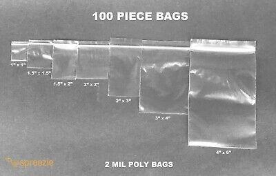 Clear 2-mil Baggies Ziplock Poly Bags Heavy Duty Zip Top Plastic 100 Pieces