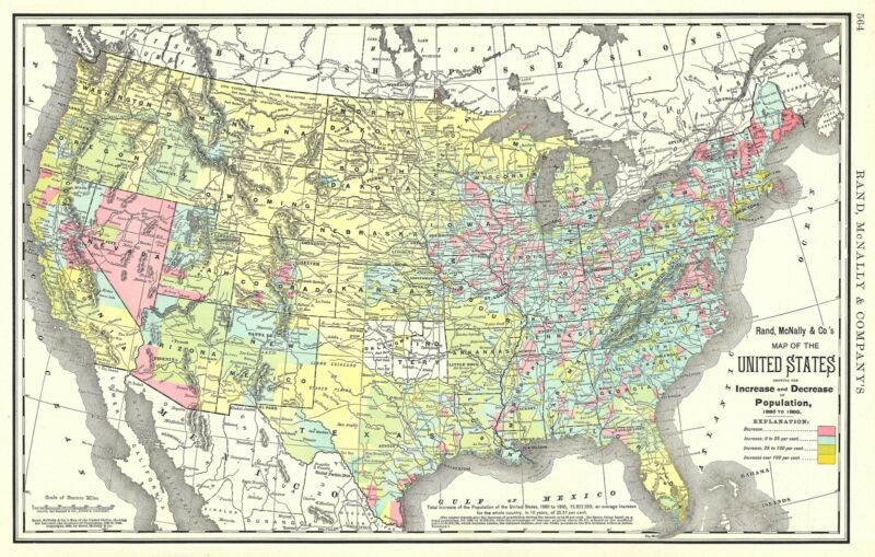 1892 Rand McNally Map of the United States showing Change in Population