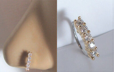 - 14k Yellow Gold Plated 5 Clear CZ Crystals Nose Nostril Hoop Ring 20 gauge 20g