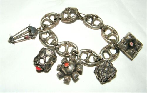 Antique Vintage Etruscan 800 Silver Italian Charm Bracelet with Coral Beads