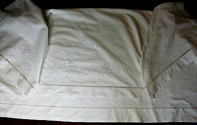 Sheet Presentation 2,00 x 2,60 embroidered and monogrammed, linen old 19th