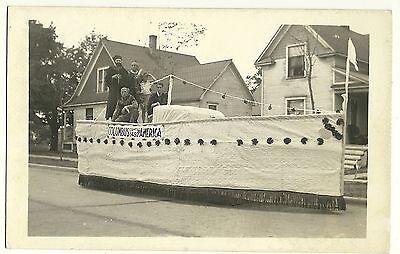 Real Photo Grand Haven MI Michigan 1934 Parade Postcard Columbus Boat