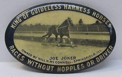 c. 1906 JOE JOKER KING OF GUIDELESS HARNESS HORSES celluloid pocket mirror *
