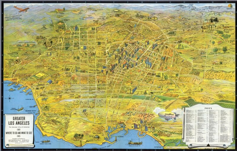 1932 PICTORIAL map Los Angeles Tourist homes of movie stars POSTER 8970000