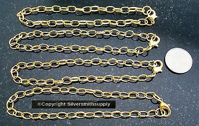 """4 pcs Gold plated  8"""" cable link 7X5mm charm bracelet chains add charms pch051"""