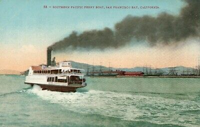 Southern Pacific Ferry Boat San Francisco CA  California Vintage Postcard