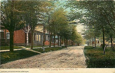 C1907 Printed Postcard  Front Street Looking South Clearfield Pa Residences