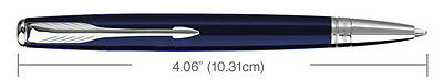 PARKER SONNET MONO BLUE  & SILVER TRIM  BALLPOINT PEN NEW IN BOX MADE IN FRANCE