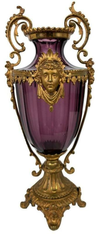 Antique French Louis XVI Amethyst Glass Bronze Ormolu Vase Baccarat Czech Moser