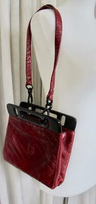 Vintage Fendi Shoulder Bag Deep Red Soft Leather w Black Plastic Hardware