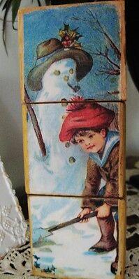 Primitive Vintage Christmas Winter Snowman Shelf Puzzle Blocks Victorian